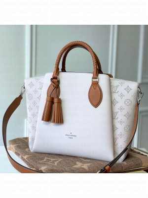 Louis Vuitton Haumea Mahina Perforated Leather Top Handle Bag M55553 White 2019 Collection
