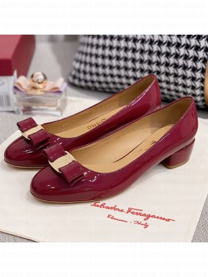 Salvatore Ferragamo Patent Leather Bow Pumps Burgundy/Gold Spring/Summer 2021 Collection
