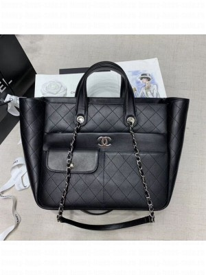 Chanel Quilted Calfskin Pocket Large Zipped Shopping Bag AS130 Black 2020 Collection