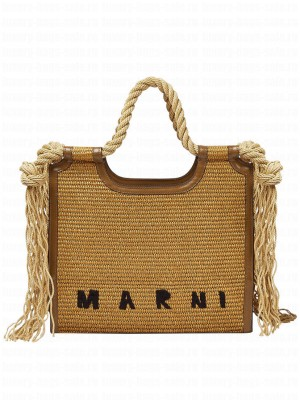 Marni East-West Matting Shopping Bag With Frayed Rope Handles Coffee