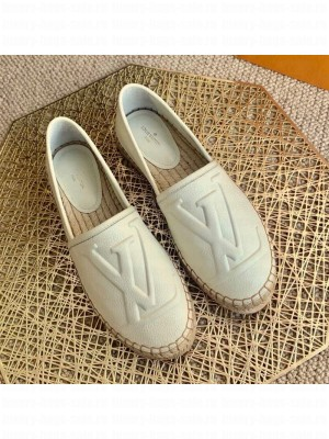 Louis Vuitton LV Grained Leather Espadrilles White 2021 Collection