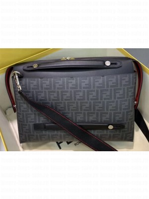 Fendi FF Logo Fabric By The Way Bag Black/Red Piping 2019