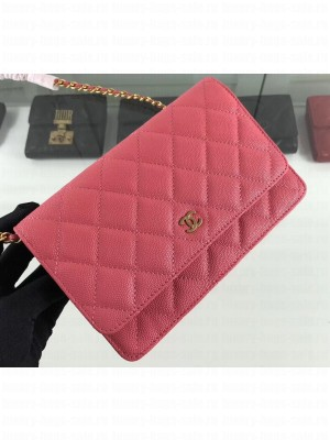 Chanel Caviar Leather Wallet On Chain WOC Bag A33814 Dark Pink 2019