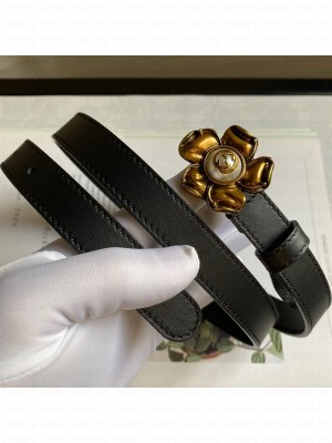 Gucci Calfskin Belt 20mm with Flower Buckle Black 2020 Collection