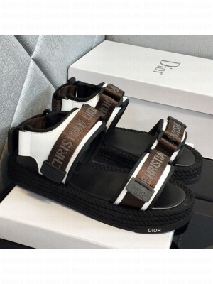 Dior D-Wander Fabric Flat Strap Sandals Brown Spring/Summer 2021 Collection 02