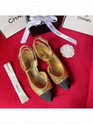 Chanel OPEN SHOES G37594 Glitter & Grosgrain Gold & Black 2021 Collection
