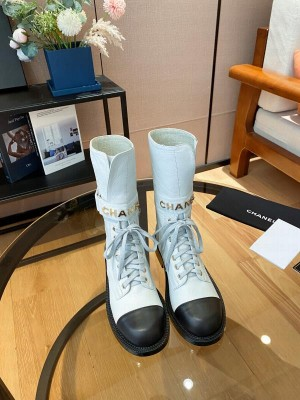 Chanel Calfskin Lace-up Boot White/Black 2021 Collection
