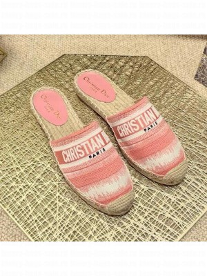 Dior Granville Espadrille Mules in Pink D-Stripes Embroidered Cotton Spring/Summer 2021 Collection