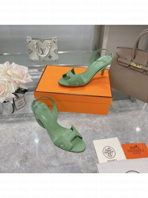 Hermes Leather Heeled Sandals 7cm Green 2021 Collection