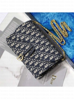 Dior Saddle Large Wallet on Chain Clutch WOC in Blue Oblique Canvas 2019 Collection