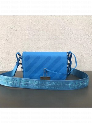 Off-White Saffiano Leather Diag Binder Clip Bag Blue 2018 Collection
