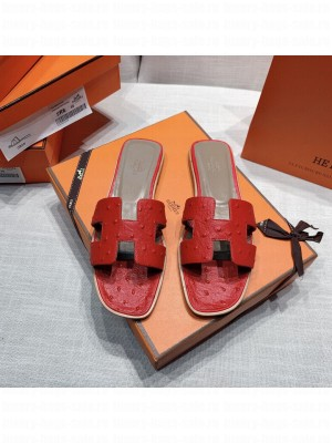 Hermes Oran Flat slippers with Ostrich Leather 080 2021 Collection