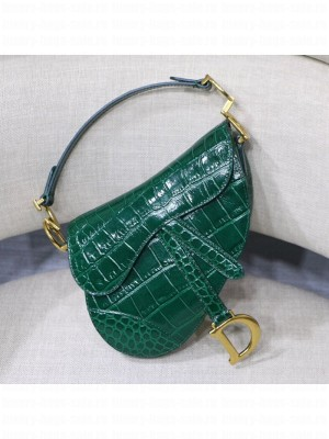 Dior Saddle Medium Bag in Crocodile Embossed Leather Green 2019 Collection