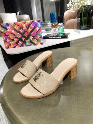 Louis Vuitton Lock It Mule Slide Sandals 55mm Nude Patent leather 2021 Collection