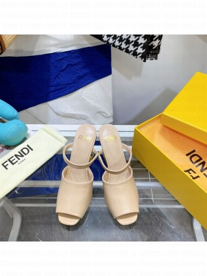 FENDI FIRST Beige leather high-heeled sandals 2021 Collection