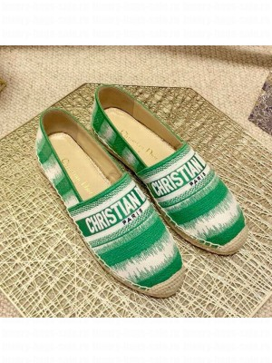 Dior Granville Espadrilles in Green D-Stripes Embroidered Cotton Spring/Summer 2021 Collection