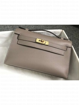 Hermes Kelly 22 Clutch Bag In Original Swift Leather Gray