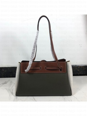 Loewe Lazo East-West Shopping Bag in Calfskin and Linen Green/Grey 2019 Collection