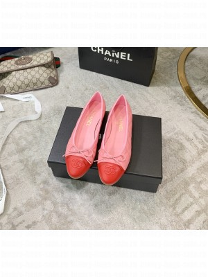 Chanel Lambskin Classic Bow Ballerinas Flats Quilting Crinkled Spring/Summer 2021 Collection,Pink/Red