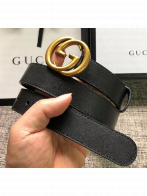 Gucci Calfskin Belt 30mm with GG Buckle Black/Gold 2020 Collection
