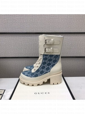 Gucci Women's boot with Interlocking G Blue/White 2021 Collection 03