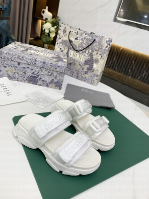 Dior D-Wander Flat Strap Sandals White 2021 Collection