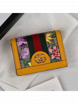 Gucci Ophidia GG Flora Card Case Wallet 523155 Yellow 2019 Collection