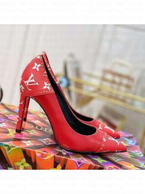 Louis Vuitton Cherie Pump 9.5cm in Studded Monogram Canvas Red 2021 Collection