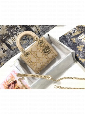 Dior Lady Dior Mini Bag With Crystals Apricot  2021 Collection