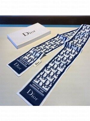 Christian Dior Oblique Twilly Scarf 120cm Fall/Winter 2020 Collection, White/Blue