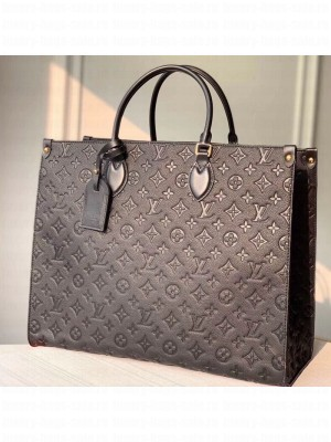 Louis Vuitton Onthego Monogram Embossed Leather Large Tote M44925 Black 2019 Collection