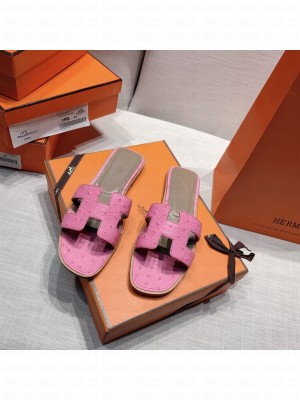Hermes Oran Flat slippers with Ostrich Leather 086 2021 Collection