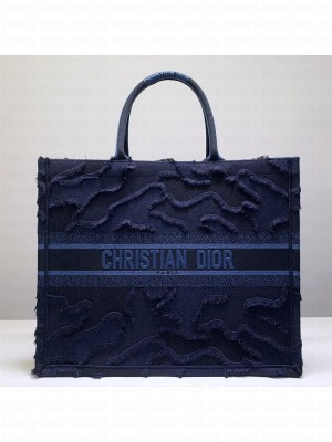 Dior Book Tote Camouflage Embroidered Canvas Bag Blue 2019 Collection