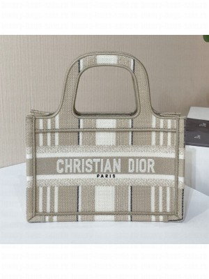 Dior Mini Book Tote Bag in Beige Stripes Embroidery  2021 Collection