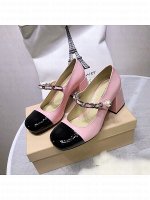 MIU MIU LEATHER PUMPS Strap with chain and button 65 mm heel Pink/Black