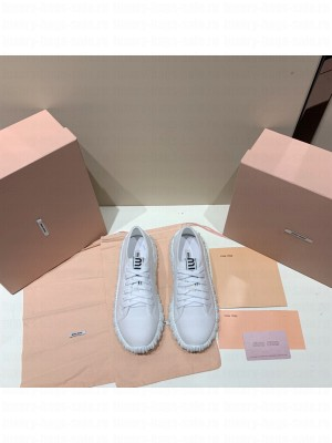 MIU MIU COTTON GABARDINE SNEAKERS with Upper with logo tape White