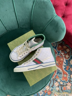 Gucci Unisex Tennis 1977 GG Multicolor high-top White Sneaker 2021 Collection