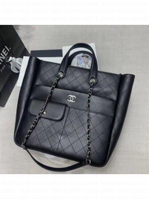 Chanel Quilted Calfskin Pocket Large Zipped Shopping Bag AS1299 Black 2020 Collection