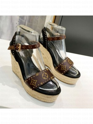 Louis Vuitton Coastline Wedge Sandal in Studded Canvas Black 2021 Collection