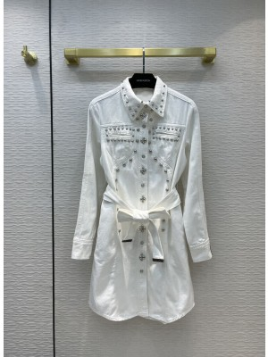 Louis Vuitton 1A9BC9 WESTERN WASHED DENIM SHIRT DRESS WHITE 2021 Collection