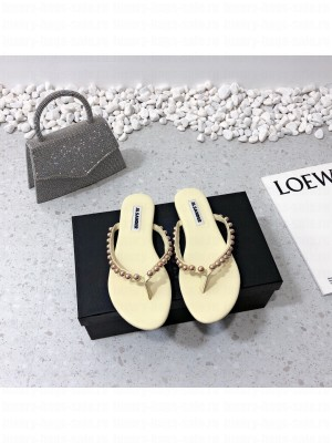 JIL SANDER Thong sandals with Gold Steel ball Beige 2021 Collection