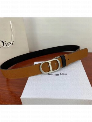 Dior Width 3.5cm Reversible Calfskin Belt With Silver CD Buckle Black/Brown 2020 Collection