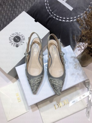 Dior J'Adior Slingback Ballerina Flat in Grey Toile de Jouy Reverse Embroidered Cotton 2021 Collection