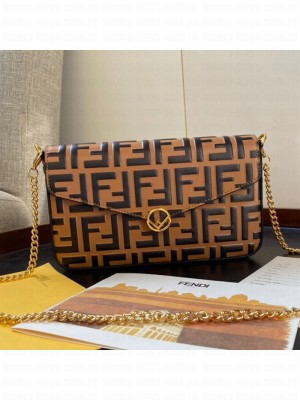 Fendi FF Wallet on Chian WOC with Pouches/Mini Bag Yellow 2019 Collection