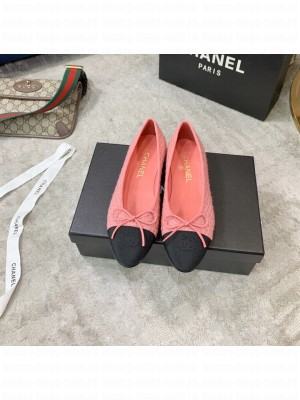 Chanel Ballerina Flats Tweed/Suede Leather Spring/Summer 2021 Collection,Pink