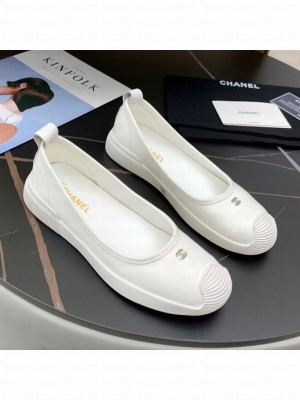 Chanel Canvas Flat Loafers Shoes White Spring/Summer 2021 Collection