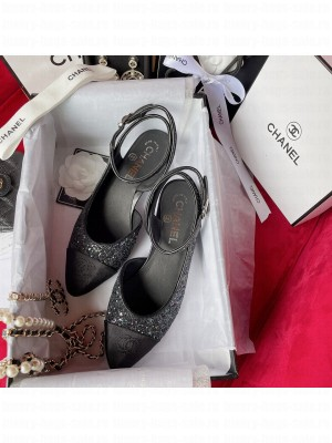 Chanel OPEN SHOES G37594 Glitter & Grosgrain Black 2021 Collection