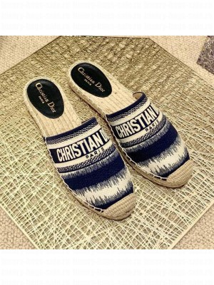 Dior Granville Espadrille Mules in Dark Blue D-Stripes Embroidered Cotton Spring/Summer 2021 Collection
