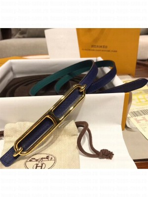 Hermes Width 1.3cm Swift & Epsom Leather Reversible Belt With Long Buckle Deep Blue/Green 2020 Collection
