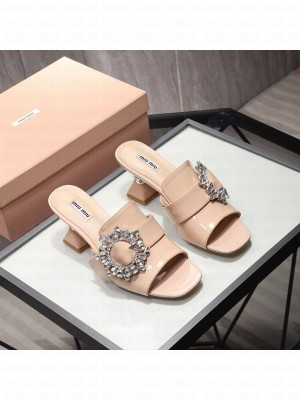 MIU MIU patent leather Buckle with synthetic crystals 65 mm heel Mules Nude